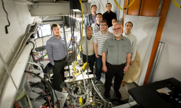 A group of researchers is using neutrons to study the atomic dynamics of liquid metals is key to unlocking the mystery of the atomistic origin of viscosity. From left to right are Adam Vogt (ORNL), Takeshi Egami (UTK, JINS), Robert Ashcraft (WUSTL), Chris
