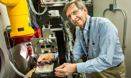 David Yarusso from 3M is studying pressure sensitive adhesives using neutron scattering at the Liquids Reflectometer, SNS beam line 4B. Image credit: Genevieve Martin/ORNL