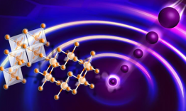 "This rendering illustrates the excitation of a spin liquid on a honeycomb lattice using neutrons. As with many other liquids, it is difficult to see a spin liquid unless it is ""splashed,"" in this case by neutrons depicted as moving balls. The misaligned a"