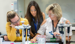 Flora Meilleur (middle) works with teachers participating in her project, helping them mix the protein solution lysozyme with a salt solution to form a crystal. The teachers mix the solutions in various concentrations and ratios and observe the results. (